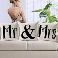 2015 The Mr & Mrs Lover Decor Cotton Linen Sofa Chair Seat Bed Pillow Case Cushion Home Decor Hotel Decorative Square