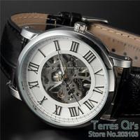 WINNER Roman White Watch Men Skeleton Auto Mechanical Watches Wristwatch Free Ship Christmas Gift