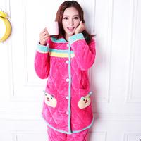 Winter pajamas women sleepwear warm thick nightwear velvet turn-down collar home clothing set lounge