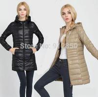 Free Shipping New Winter jacket Woman's Outerwear Slim Hooded Down Jacket Woman Warm Down Coat Women Light White Duck Down