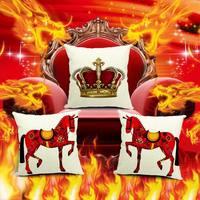 3pcs/lot hours Imperial crown Decor Cotton Linen Sofa Chair Seat Bed Pillow Case Cushion Home Decor Hotel Decorative Square
