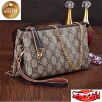 New Fashion 2015 Plaid Design Day Clutch Small Shoulder Bag Bolsas Femininas Messenger Bag Genuine Leather Women Handbag