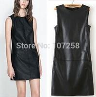 2015 Vestidos Femininos Casual Dress Women  Ladies Sleeveless Crew Neck Winter Plus 6XL Size Faux PU Leather Black Midi Dresses
