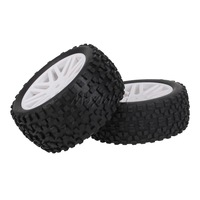 4x RC 1:10 Off-Road Buggy Front Rear Mesh Shape Wheel Rim Rubber Tyre White