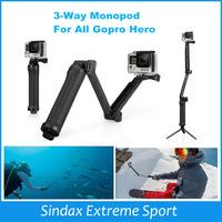 Selfie Stick Monopod 3-Way Multi-function Folding Arm Lever Tripod Mounts for GoPro Hero3 4 3+ 2 SJ4000