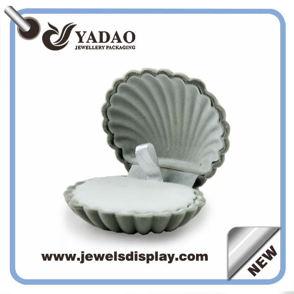 2015 new design shell shape gray velvet plastic boxes ring boxes for gift box(China (Mainland))
