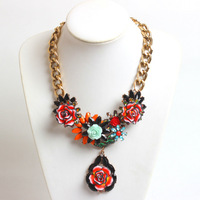fashion jewelry for women 2014 za choker collar chunky accessories flower statement Necklaces & pendants LM-SC706