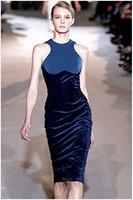 New Arrival 2015 Fashion Women Patchwork Dress Sexy O-Neck Off The Shoulder Sheath High Waist Pencil Dress Mid-Calf Dress  ZHX