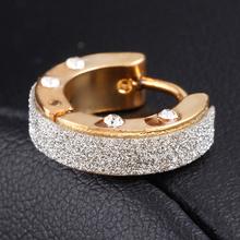 New hot Fashion Charm Plating Gold rhinestone earrings jewelry Shiny Stainless steel punk hip-hop Stud Earrings women 2014 M11
