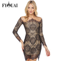 FYOUAI Sexy Net Women Dress Slim Lace Dress New Fashion 2015 Fashion Splice Hollow Bandage Party Dress