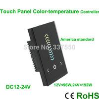 US standard DC12-24V Touch Panel Color Temperature Controller 2*4A/CH control White Warm White,White Cold White color led strip