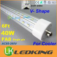 NEW V Shape both sides Light T8 LED Tube rotating FA8 ends For cooler door 40W 6FT 1.8m LED fluorescent lights AC85-265V CE FCC