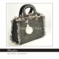 2015 New famous designers brand D women fur handbags feather messenger bags girls shoulder bag black phone purses bolsas