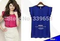 Summer blouses 2014 new European and American art small fresh Feifei sleeve round neck sleeveless chiffon shirt wholesale