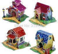 Free Shipping(6 sets/lot), Children's educational 3 D puzzles, DIY paper puzzle house/pet house/musical instrument  model, JY077