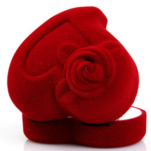 Red Love Heart Shaped Ring Box Gift Velvet Retail Jewelry Package Case