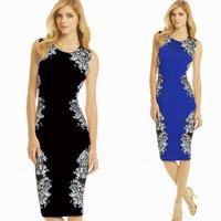 Women's Black/Blue S-XXL Print Sleeveless Round Collar Slim Pencil Dresses Vintage  Business Casual Party Bodycon Sheath Dress
