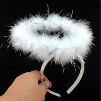 White marabou feather headband angel halo ring for children or adults