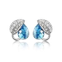 Z-003 fashion accessories full of love leaves rhinestone crystal earrings angel tears drop stud earring female