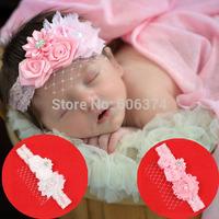 New Hot Sale Baby Mesh Flower Headband Rose Floral Hairband with Diamond Girls Hair Accessory Fashion Pearl Tiara  Princess