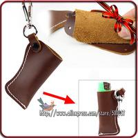 Genuine Lighter Leather Pouch Bag Case Holder For Disposable& Emergency Cylinder-Shape Match Lighter