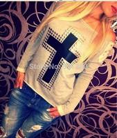 FanShou Free Shipping 2015 Women Hoody Spring Autumn Long Sleeve Sportswear Rivet Printed Sweatshirts Moleton Feminine