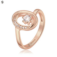 New 18K Rose Gold Engagement Ring Elegant Crystal Gold Rings for Women Jewelry Accessories Valentine's Day Gift Free Shipping