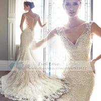 2015 Fashionable Sexy Luxury Backless See Through Gown Lace Mermaid Bride Vintage Romantic Vestido De Noiva Wedding Dress WDF24