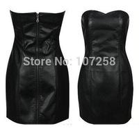 Sexy Black Faux Leather Pencil Bodycon Boob Tube Strapless Mini Dresses Summer Zipper Women Clabwear Midi Prom Dress Shapewear