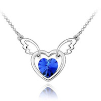 Z-040 small accessories fashion crystal wings of love female necklace