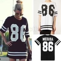 86 new 2015 summer women oversized loose short-sleeved T-shirt American baseball star models t shirt dress black WTS23