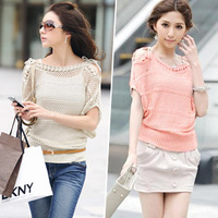 2015 new Spring summer new sweet candy color women loose Crochet knitted blouse wears batwing hollow pullover sweaters top