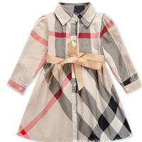 Casual Dress Long Sleeves Plaid Sping Autumn Children Girl Dresses Vestidos Roupas Infantis Baby Kids GIrls Dress Child Clothes