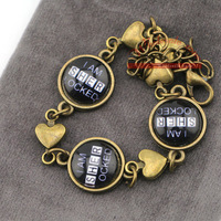 12pcs/lot I Am Sherlocked bracelet,three bronze hearts charms bracelet,women's handmade DIY Jewelry,Creative gift for her