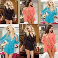 Free Shipping New Style Black Chiffon Chemise Loungewear Ladies Lingerie 3 Colors 4F67026 Hot Sexy Babydoll Desire Kimono Robe