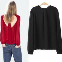 Free Shipping woman clothes 2015 long sleeve streamer sexy backless tropical camisas femininas blusa women chiffon blouse C684