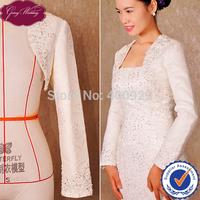 New Arrival GoingWedding Real Sample Long Sleeve Lace With Satin Lining Bridal Wraps Wedding Bolero Jacket Women 2015 LJ0009