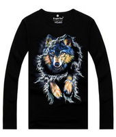 Hot 2015 Summer Autumn Fashion Long-sleeve Sweatshirt Boy Personality 3D Wolf Print T Shirt Hip Hop Lycra Plus Size XXL T-Shirt