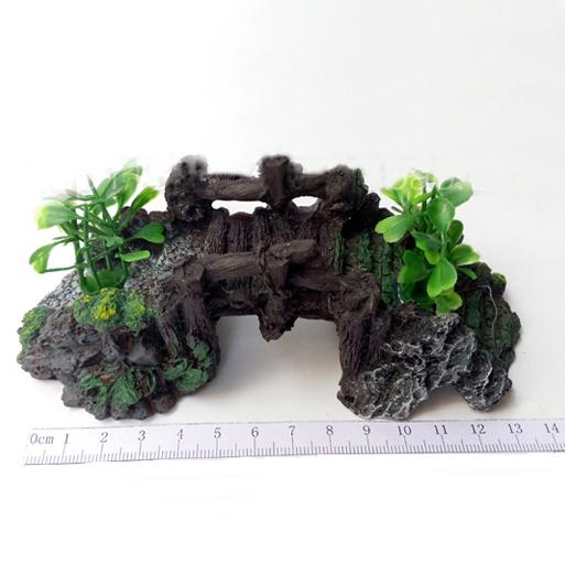 ... Small Resin Bridge Aquarium Decoration Turtle Climb Table With Grass