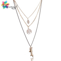 Matte Gold Branch Pierced Tree Coin Leaf Combination Multiple Chain Personalized LongSweater Necklace For Women[ncc14]