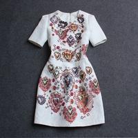 2015 spring and summer women's fashion beading diamond gem print short-sleeved slim white dress