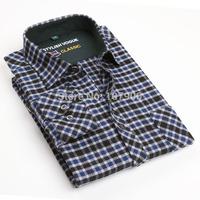 Blue Black Plaid Cotton Casual shirt long sleeve men shirt camisa masculina Plus Size 1151