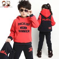Children's clothing male winter child set 5 - 6 winter child sports set child plus velvet thickening sweatshirt piece set