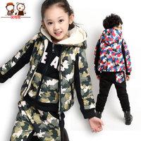 Children's clothing female winter child male child 2014 winter plus velvet set child sweatshirt piece set winter thickening