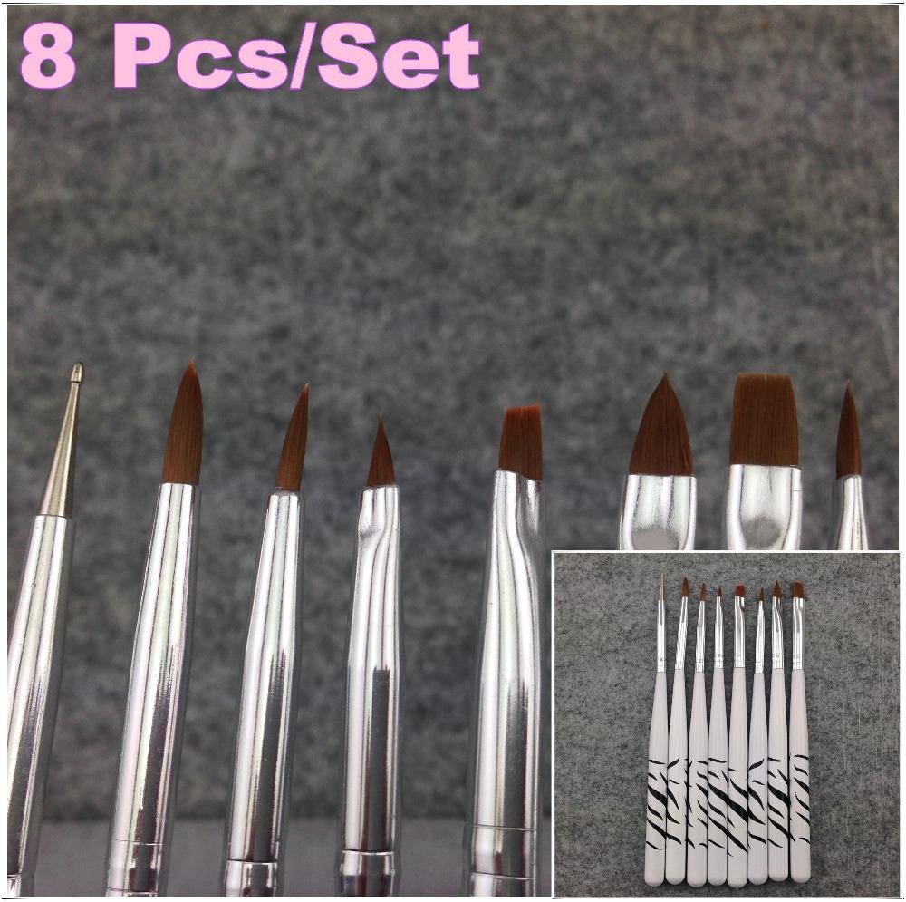 1Set / 8Pcs Professional White UV Gel Pen Brush Nail Art Acrylic 8 Size Flat Brush Pen Dotting Draw Paint Tool Set+Free Shipping(China (Mainland))