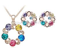 Fashion Design Gold Plated Rhinestone Crystal Sakura Necklace Earrings Jewelry Set Flower Jewelry Set Valentine's Day Gift