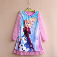 8pcs/lot Children Frozen Elsa Anna Princess Olaf long sleeve nightgowns