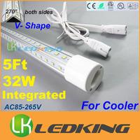 2015 LATEST Integrated T8 LED Tube V Shape both sides Light 270  for Cooler Door 32W 5ft 1.5m LED fluorescent AC85-265V CE FCC