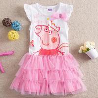 SALE Apparel clothing brand sleeveless girl tutu dresses vestido baby girls wear Pink nova peppa pig dress party costume HA080
