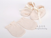 Baby Fashion Gloves Foot Strap Sets Spring Organic Cotton Certificate Infant Soft Eco-friendly For Toddler 12pcs/lot